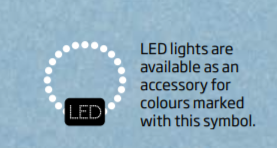 LED lights are available as an accessory for colours marked with this symbol | Kirami